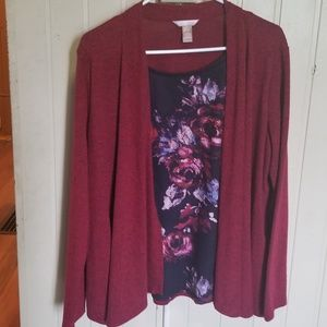 Maroon shirt w sweater attached